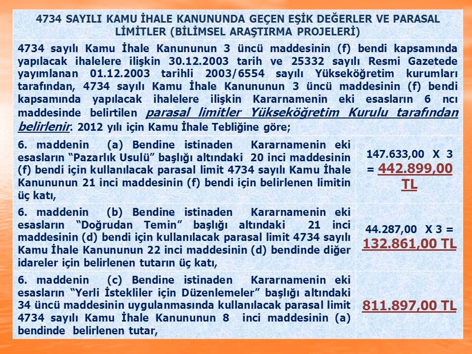 4734 SAYILI KAMU İHALE KANUNUNDA GEÇEN EŞİK DEĞERLER VE PARASAL LİMİTLER (BİLİMSEL ARAŞTIRMA PROJELERİ)