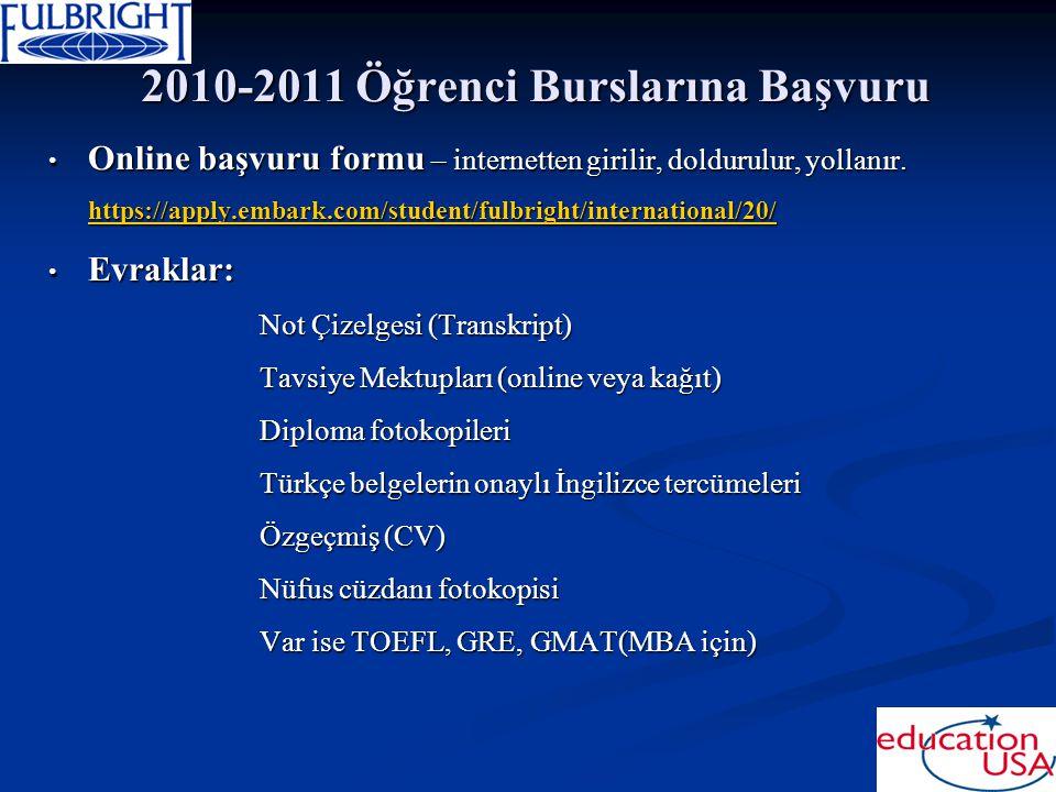 2010-2011 Öğrenci Burslarına Başvuru