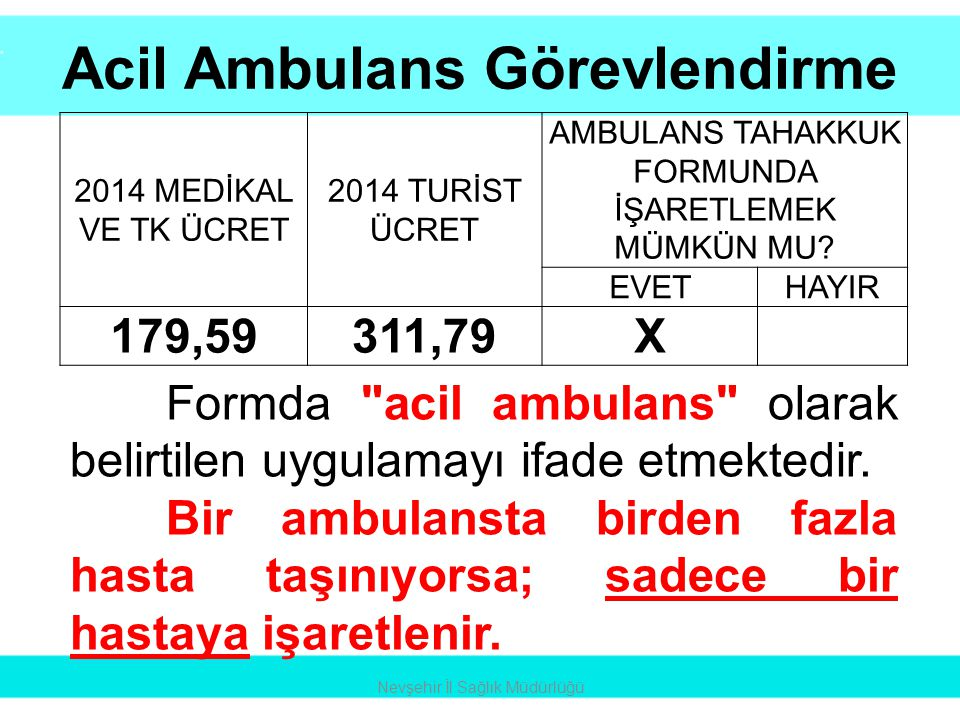 Acil Ambulans Görevlendirme
