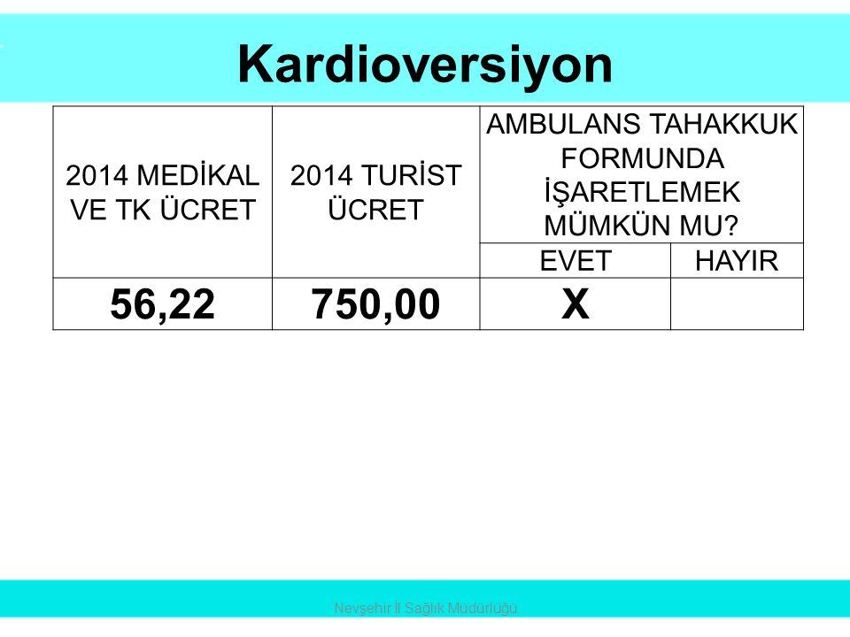 Kardioversiyon 56,22 750,00 X 2014 MEDİKAL VE TK ÜCRET