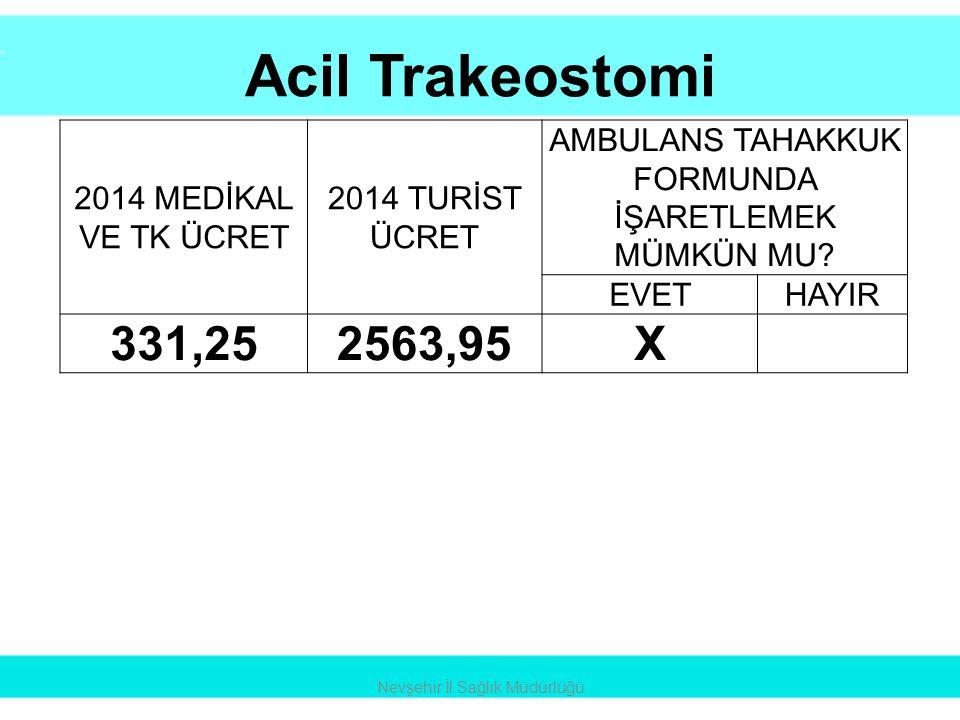 Acil Trakeostomi 331,25 2563,95 X 2014 MEDİKAL VE TK ÜCRET