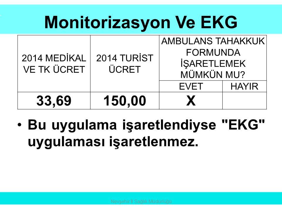 Monitorizasyon Ve EKG 33,69 150,00 X