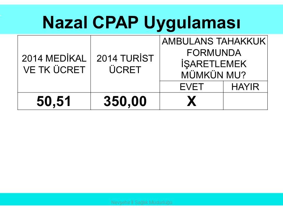 Nazal CPAP Uygulaması 50,51 350,00 X 2014 MEDİKAL VE TK ÜCRET