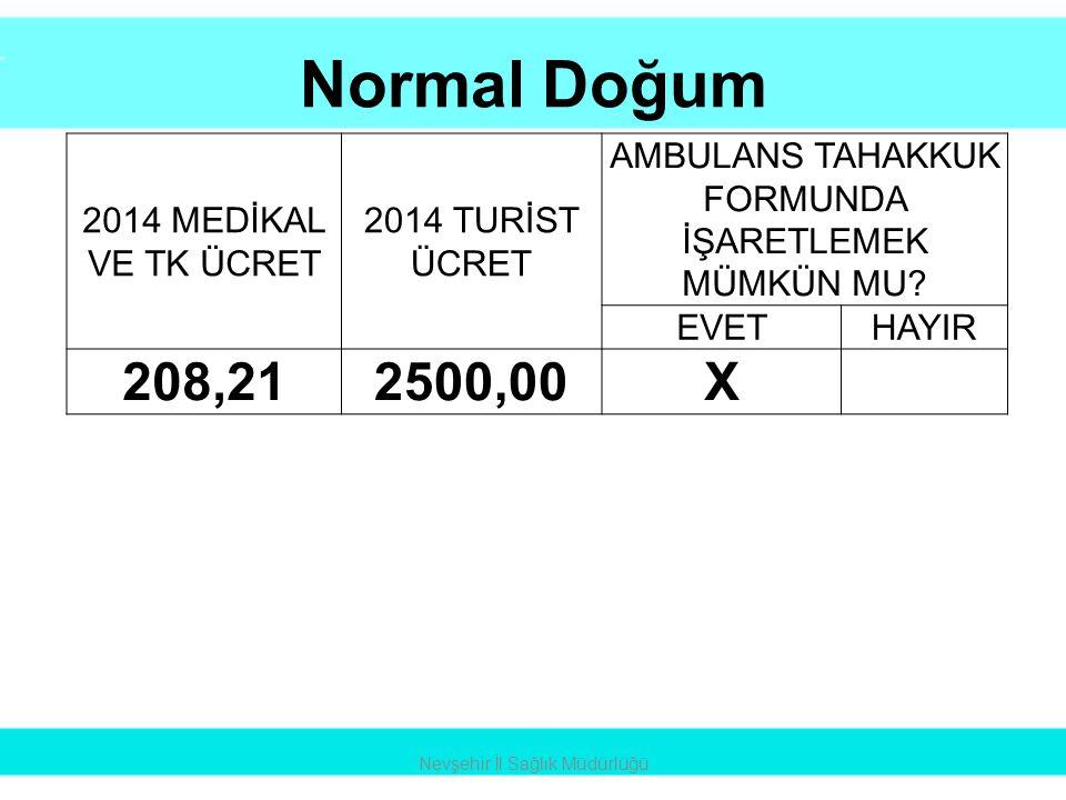 Normal Doğum 208,21 2500,00 X 2014 MEDİKAL VE TK ÜCRET