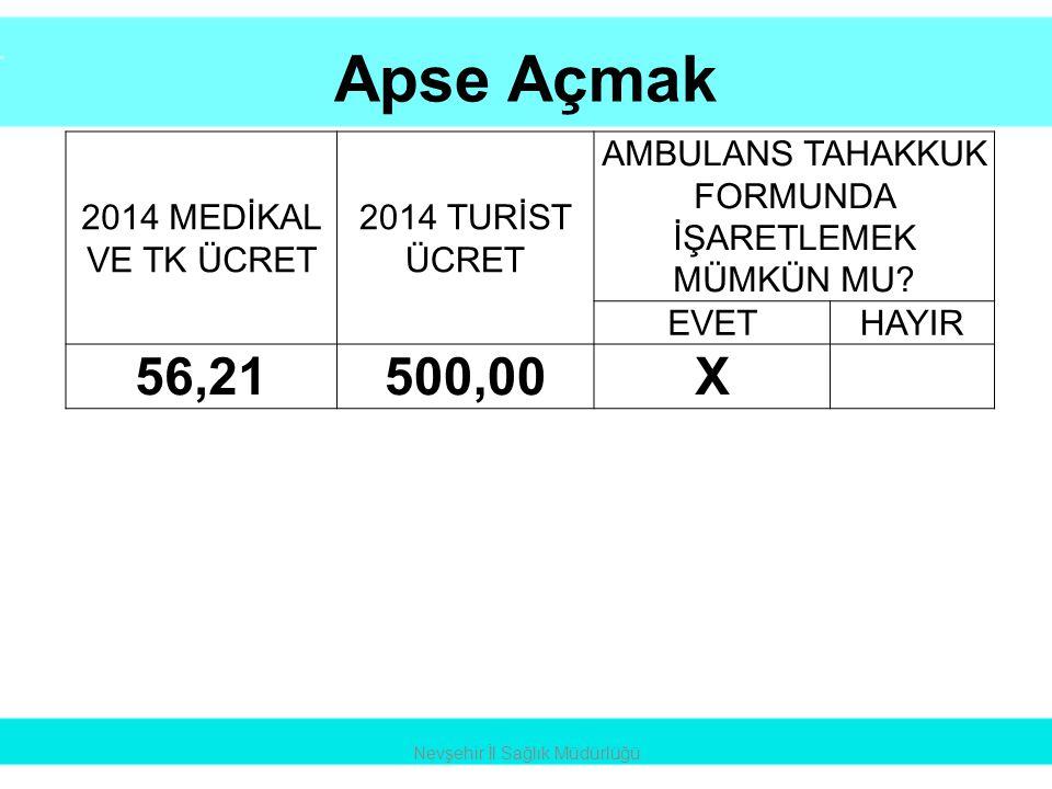Apse Açmak 56,21 500,00 X 2014 MEDİKAL VE TK ÜCRET 2014 TURİST ÜCRET