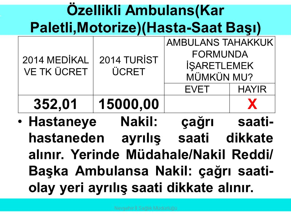 Özellikli Ambulans(Kar Paletli,Motorize)(Hasta-Saat Başı)