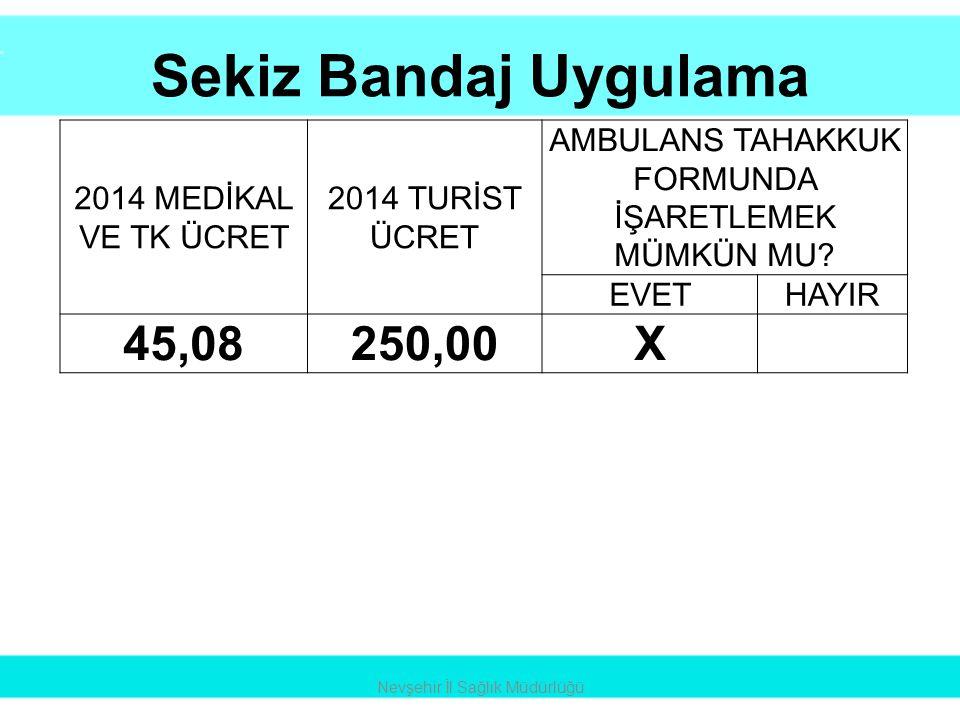 Sekiz Bandaj Uygulama 45,08 250,00 X 2014 MEDİKAL VE TK ÜCRET