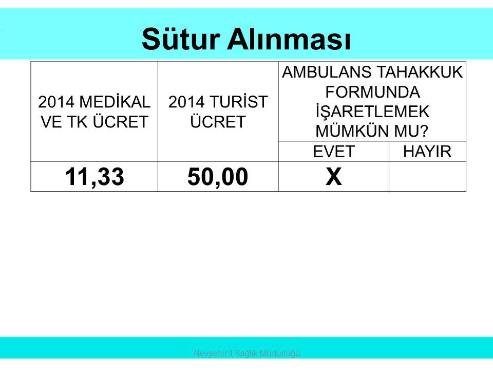 Sütur Alınması 11,33 50,00 X 2014 MEDİKAL VE TK ÜCRET