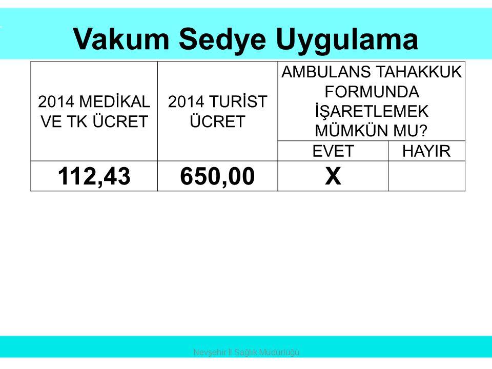 Vakum Sedye Uygulama 112,43 650,00 X 2014 MEDİKAL VE TK ÜCRET