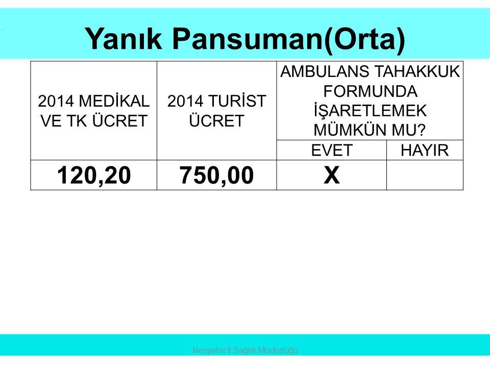 Yanık Pansuman(Orta) 120,20 750,00 X 2014 MEDİKAL VE TK ÜCRET