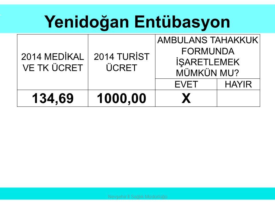 Yenidoğan Entübasyon 134,69 1000,00 X 2014 MEDİKAL VE TK ÜCRET