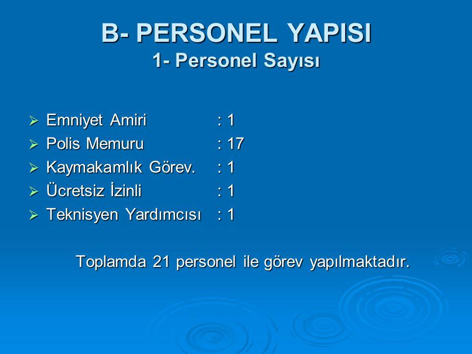 B- PERSONEL YAPISI 1- Personel Sayısı