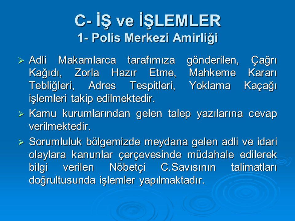 C- İŞ ve İŞLEMLER 1- Polis Merkezi Amirliği