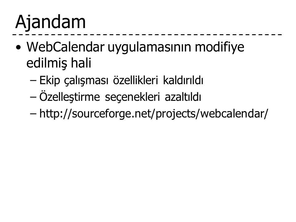 Ajandam WebCalendar uygulamasının modifiye edilmiş hali