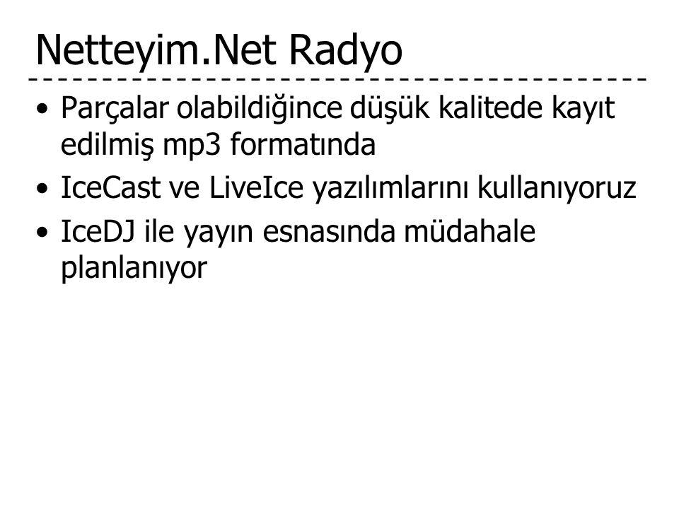 Netteyim.Net Radyo Parçalar olabildiğince düşük kalitede kayıt edilmiş mp3 formatında. IceCast ve LiveIce yazılımlarını kullanıyoruz.