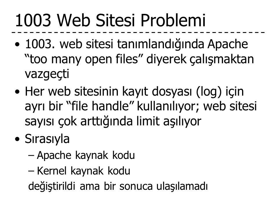 1003 Web Sitesi Problemi 1003. web sitesi tanımlandığında Apache too many open files diyerek çalışmaktan vazgeçti.