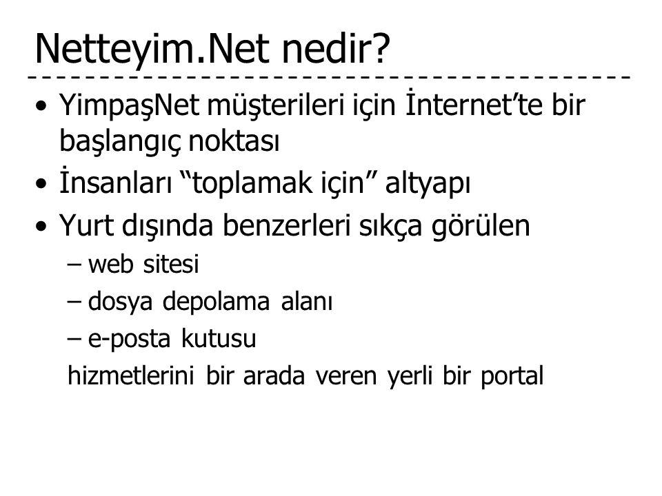 Netteyim.Net nedir YimpaşNet müşterileri için İnternet'te bir başlangıç noktası. İnsanları toplamak için altyapı.