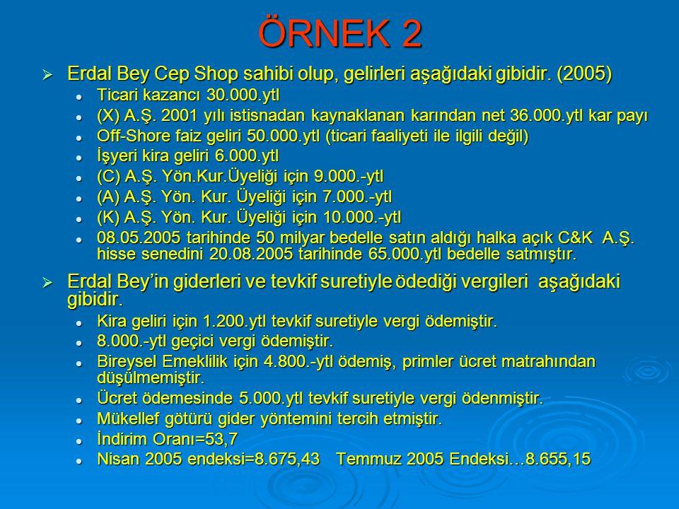 ÖRNEK 2 Erdal Bey Cep Shop sahibi olup, gelirleri aşağıdaki gibidir. (2005) Ticari kazancı 30.000.ytl.