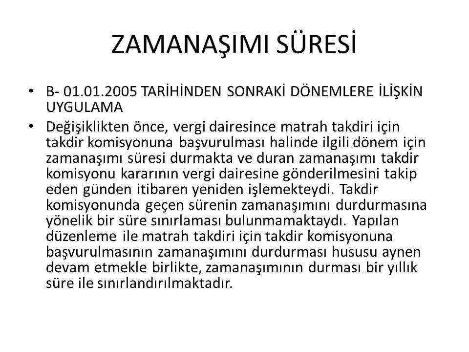 ZAMANAŞIMI SÜRESİ B- 01.01.2005 TARİHİNDEN SONRAKİ DÖNEMLERE İLİŞKİN UYGULAMA.