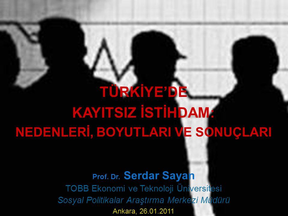 TÜRKİYE'DE KAYITSIZ İSTİHDAM: NEDENLERİ, BOYUTLARI VE SONUÇLARI