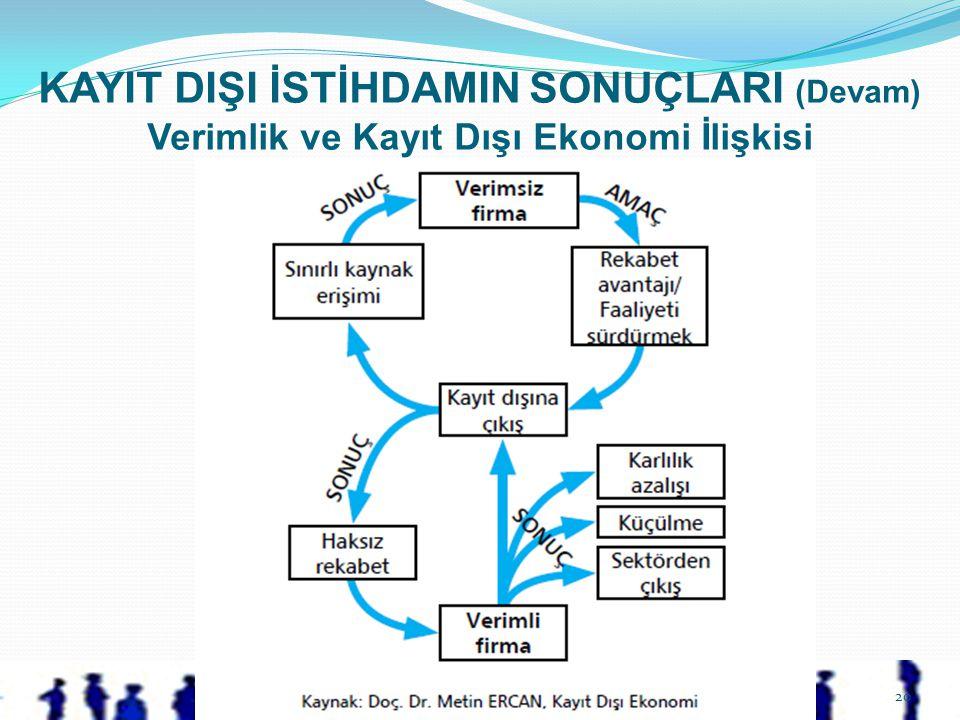 KAYIT DIŞI İSTİHDAMIN SONUÇLARI (Devam) Verimlik ve Kayıt Dışı Ekonomi İlişkisi