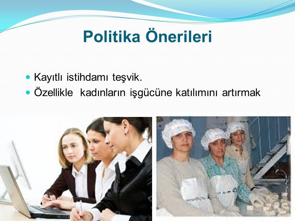 Politika Önerileri Kayıtlı istihdamı teşvik.