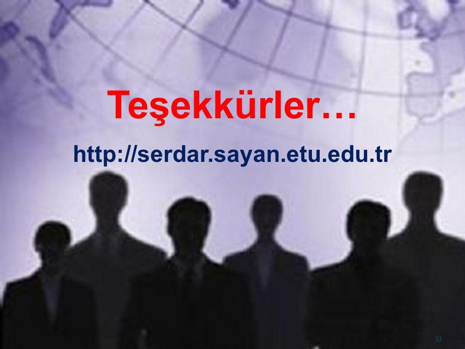 Teşekkürler… http://serdar.sayan.etu.edu.tr