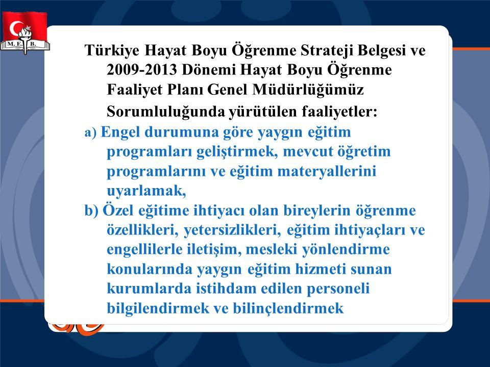 Türkiye Hayat Boyu Öğrenme Strateji Belgesi ve 2009-2013 Dönemi Hayat Boyu Öğrenme Faaliyet Planı Genel Müdürlüğümüz Sorumluluğunda yürütülen faaliyetler:
