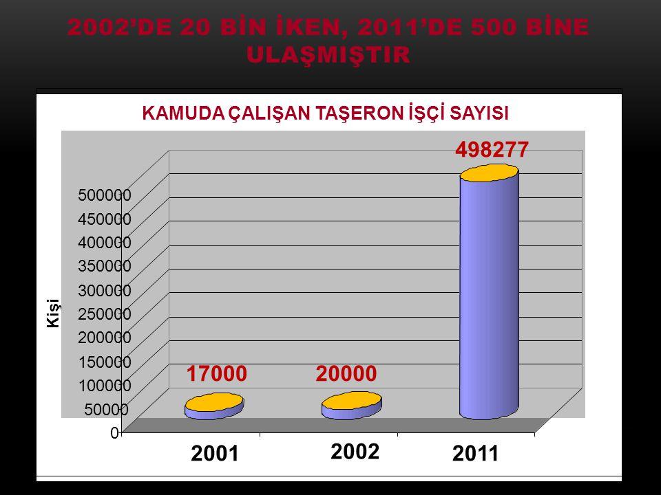 2002'de 20 bİn İken, 2011'de 500 bİne ulaşmIştIr