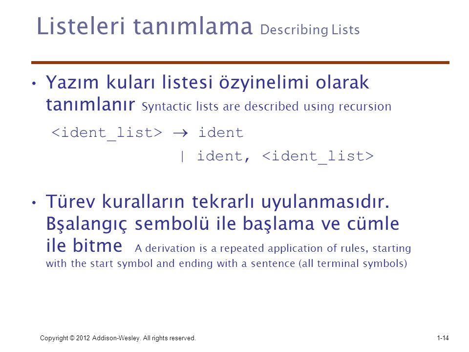 Listeleri tanımlama Describing Lists