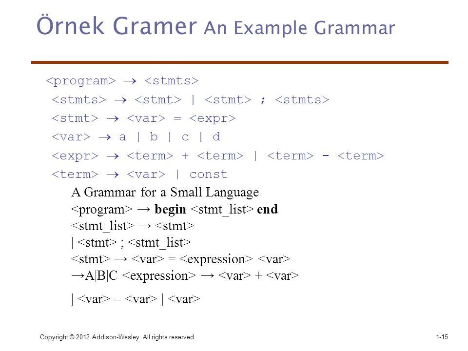 Örnek Gramer An Example Grammar