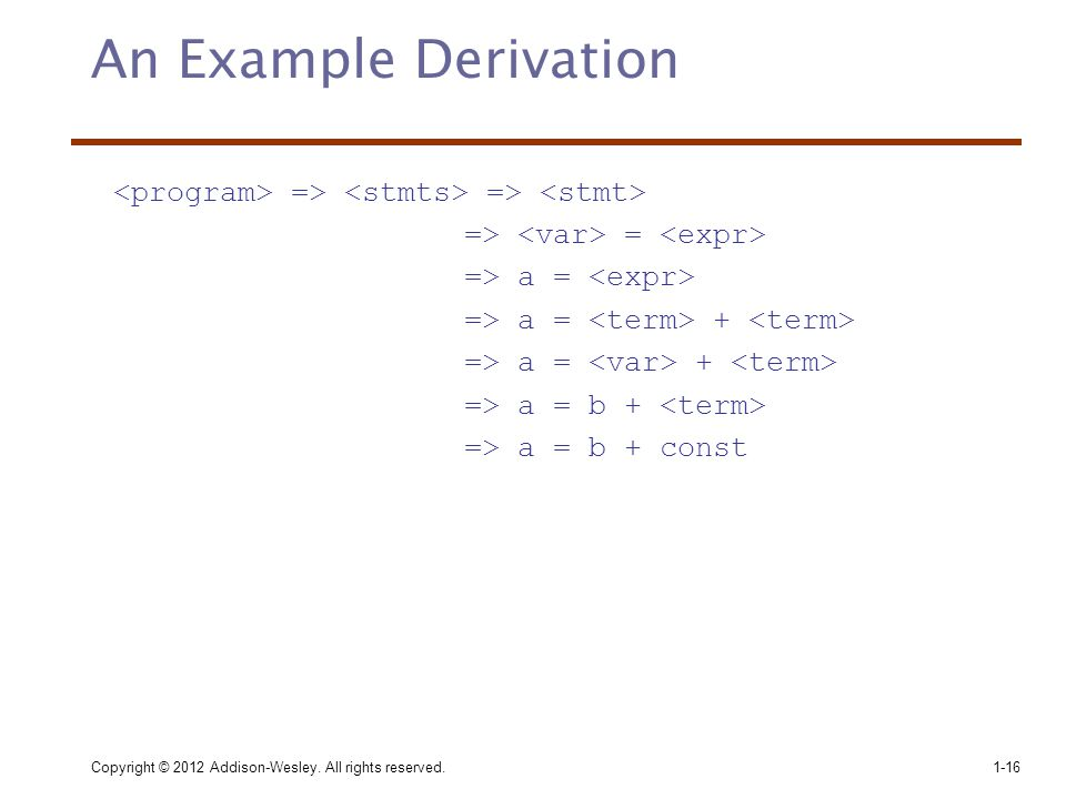 An Example Derivation <program> => <stmts> => <stmt> => <var> = <expr> => a = <expr> => a = <term> + <term>