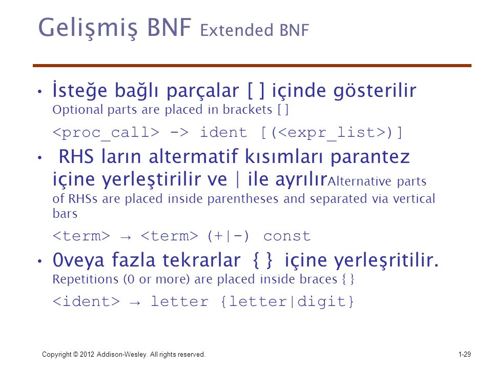 Gelişmiş BNF Extended BNF