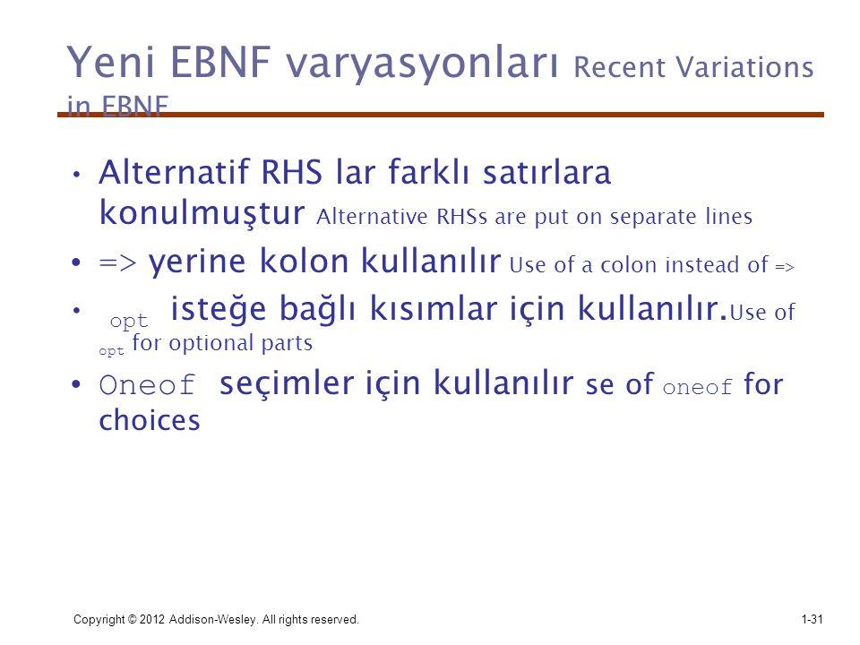 Yeni EBNF varyasyonları Recent Variations in EBNF