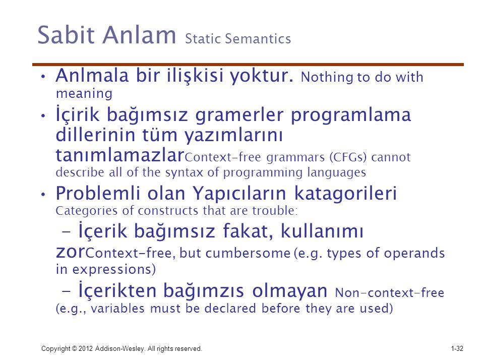 Sabit Anlam Static Semantics