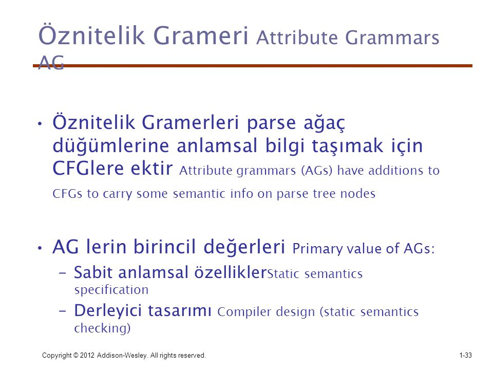 Öznitelik Grameri Attribute Grammars AG