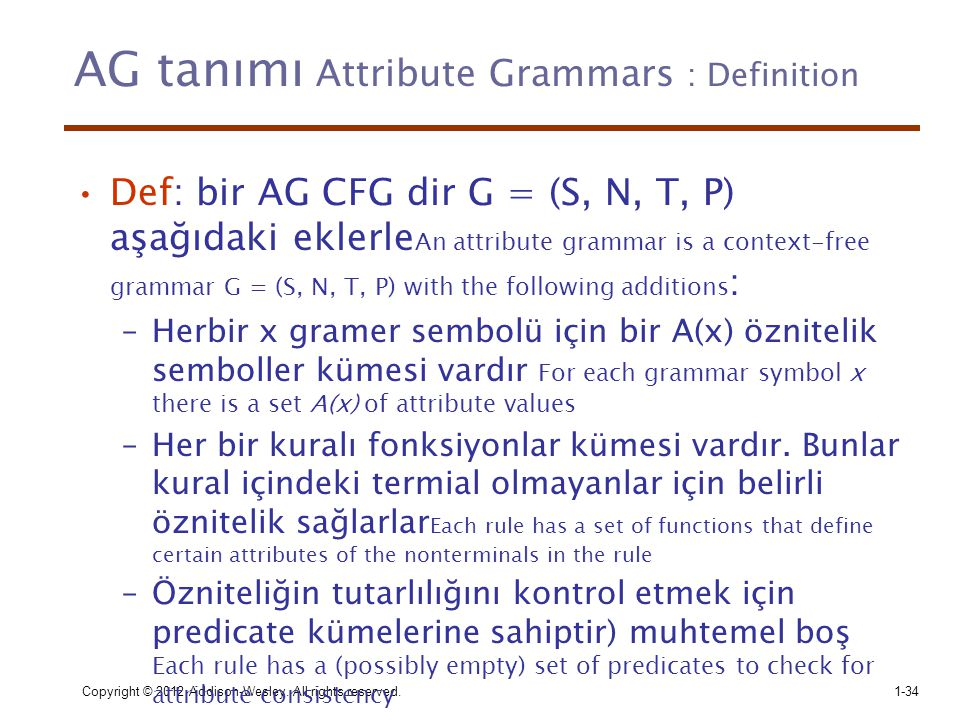 AG tanımı Attribute Grammars : Definition