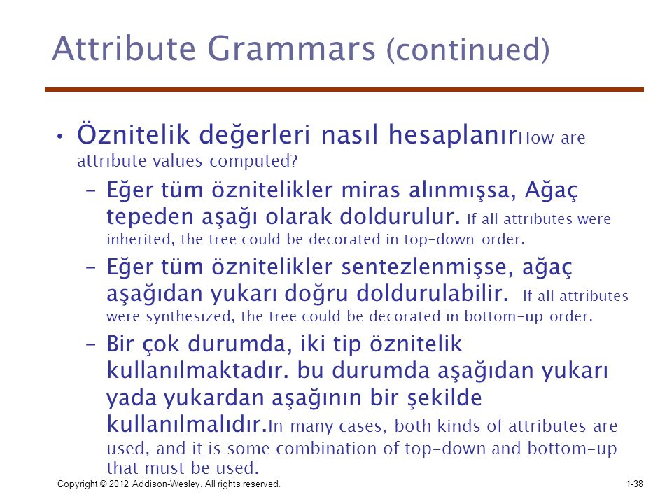 Attribute Grammars (continued)