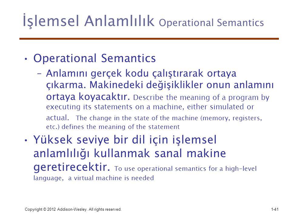 İşlemsel Anlamlılık Operational Semantics