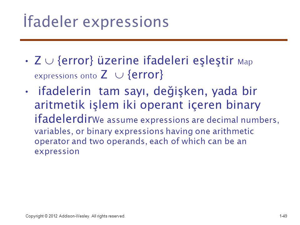 İfadeler expressions Z  {error} üzerine ifadeleri eşleştir Map expressions onto Z  {error}