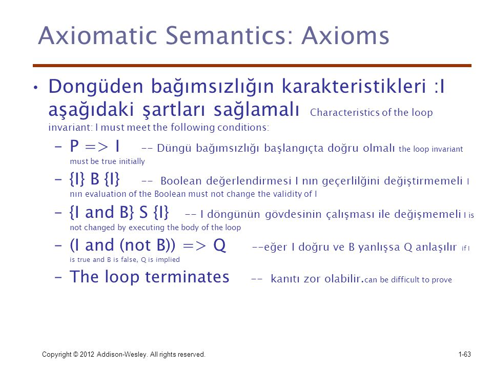 Axiomatic Semantics: Axioms