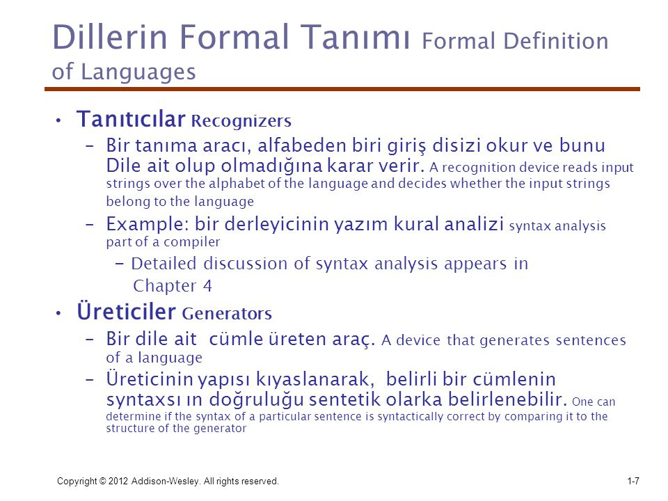 Dillerin Formal Tanımı Formal Definition of Languages