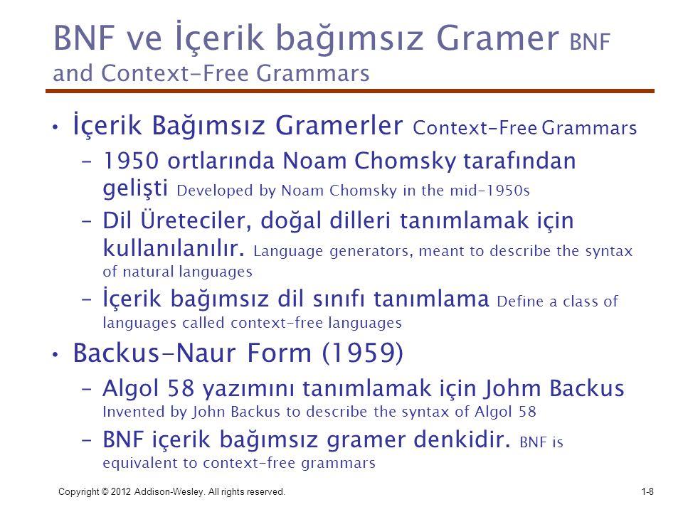 BNF ve İçerik bağımsız Gramer BNF and Context-Free Grammars