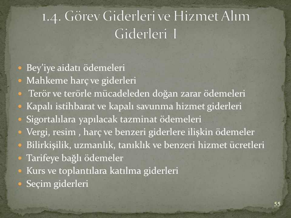 1.4. Görev Giderleri ve Hizmet Alım Giderleri I