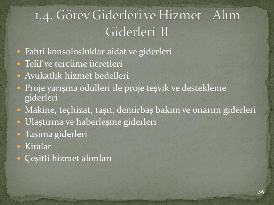 1.4. Görev Giderleri ve Hizmet Alım Giderleri II