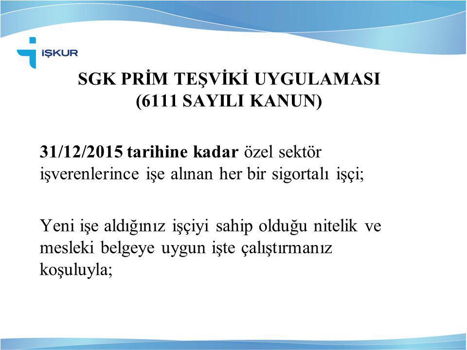 SGK PRİM TEŞVİKİ UYGULAMASI (6111 SAYILI KANUN)