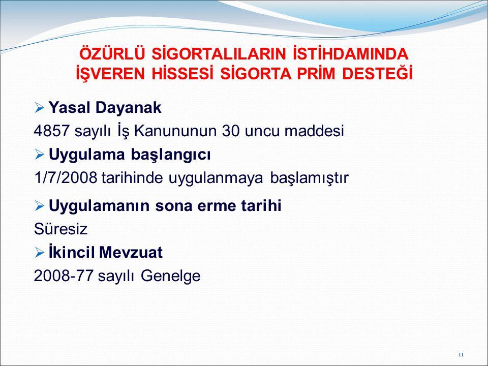 ÖZÜRLÜ SİGORTALILARIN İSTİHDAMINDA