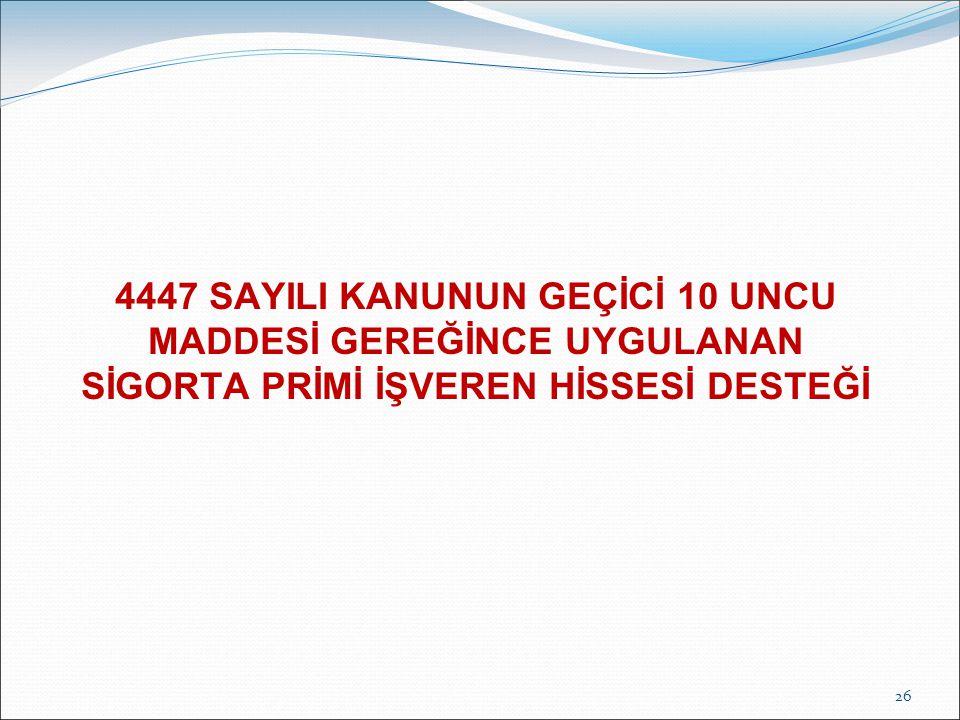 4447 SAYILI KANUNUN GEÇİCİ 10 UNCU MADDESİ GEREĞİNCE UYGULANAN SİGORTA PRİMİ İŞVEREN HİSSESİ DESTEĞİ