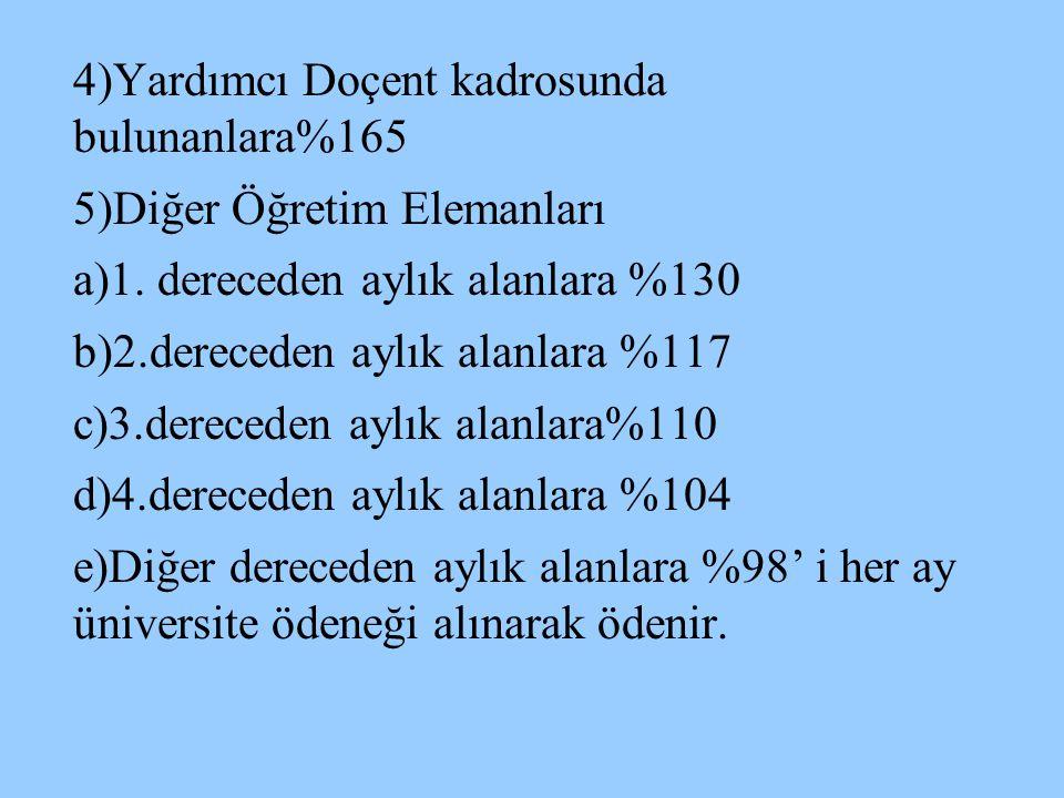 4)Yardımcı Doçent kadrosunda bulunanlara%165