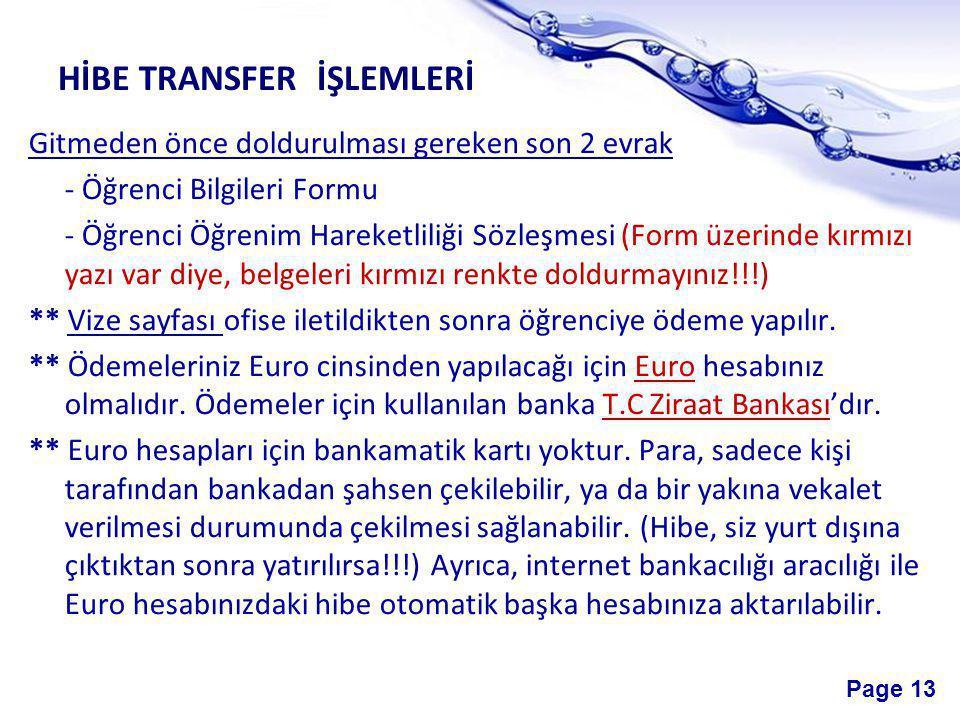 HİBE TRANSFER İŞLEMLERİ